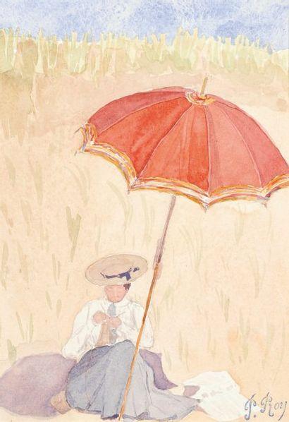 Elégante au parasol Aquarelle Signée du cachet en bas à droite 24 x 17 cm