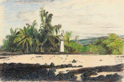 Phare de Kailoua, Hawaï, 1939 Crayons gras et encre sur papier Signé du monogramme,...