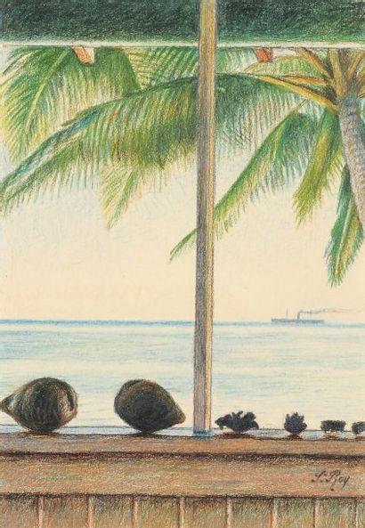 Niumalu, Hawaï, 1939 Pastel gras Signé en bas à droite 27 x 18,5 cm BIBLIOGRAPHIE...
