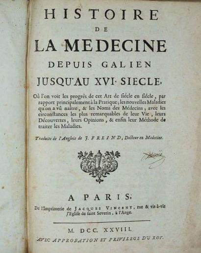 FREIND (John).-Histoire de la médecine depuis...