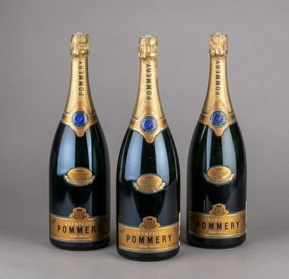 3 magnums CHAMPAGNE POMMERY Brut 1985 pour...