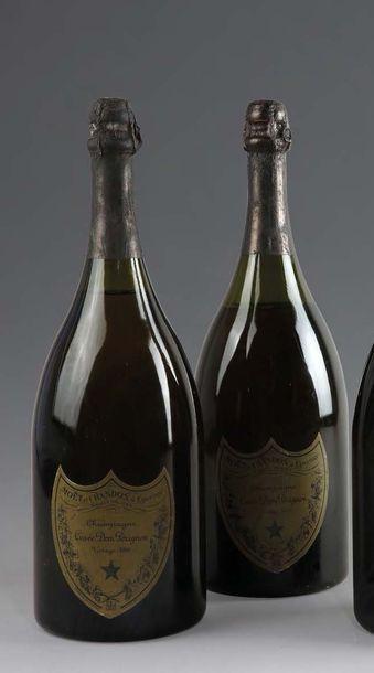 2 magnums CHAMPAGNE DOM PERIGNON 1980 Etiquettes...