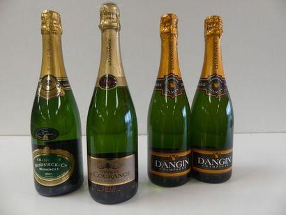 1 lot de 4 bouteilles : 2 Champagne Dangin...