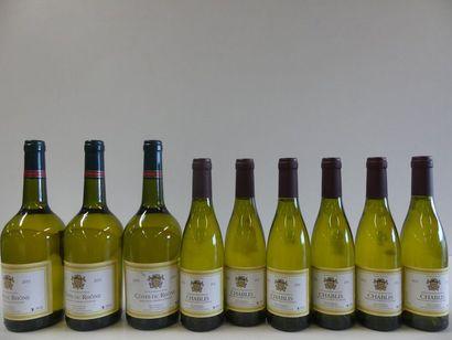 1 lot de 9 bouteilles : 6 Chablis 37 cl Louis...