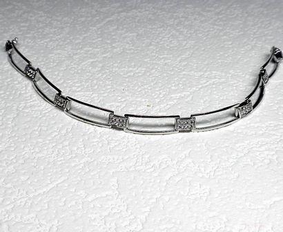 Bracelet or blanc motifs rectangles incurvés...