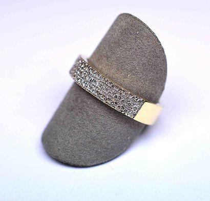 Bague or bicolore sertie de 60 diamants ronds...