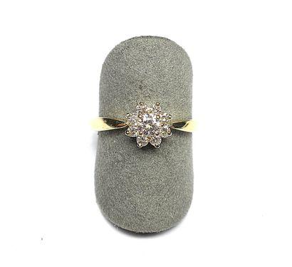Bague or jaune sertie de 8 diamants de belle...