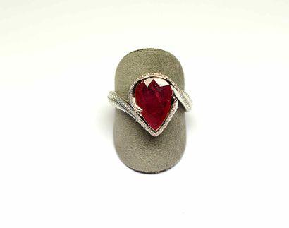 Bague joaillerie or blanc anneau stylisé...