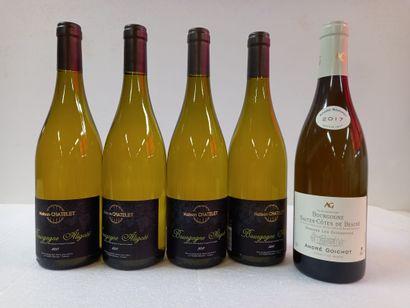 5 Btls comprenant :  4 Bourgogne Aligoté...