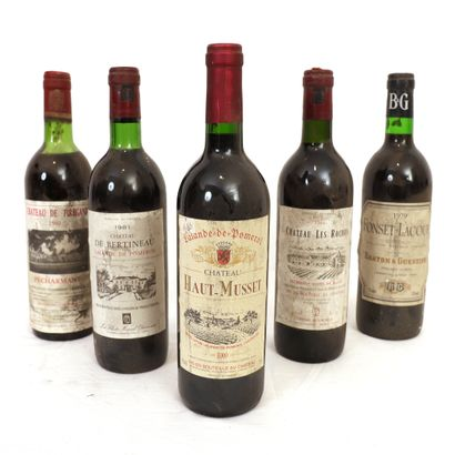 5 Btls de vins de Bordeaux :  - 1 Pécharmant...