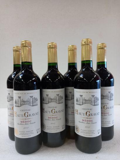 6 Btls Château Haut Gravat Médoc 2017. Vignobles...