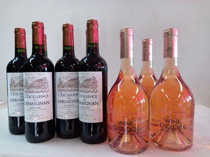 9 bouteilles comprenant :  6 Château Germignan...