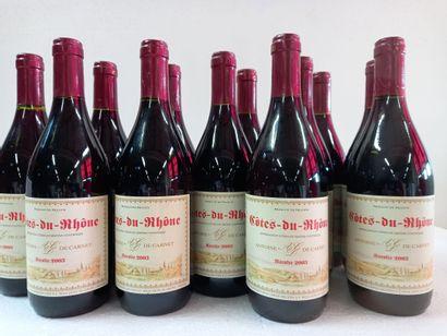 12 Btls Côtes du Rhône Rouge. Récolte 2003....