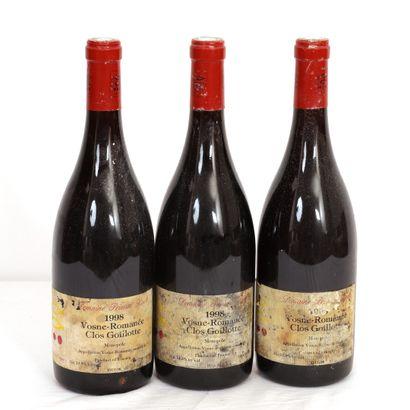 3 Btls Vosnes-Romanée, Clos Goillote 1998...