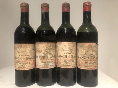 4 Btls Lynch Bages, Bordeaux rouge, 1962...