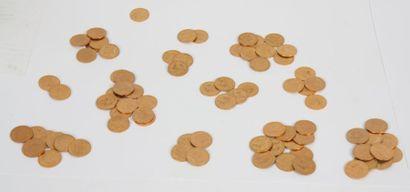 Lot de soixante-dix huit pièces de 20 francs...