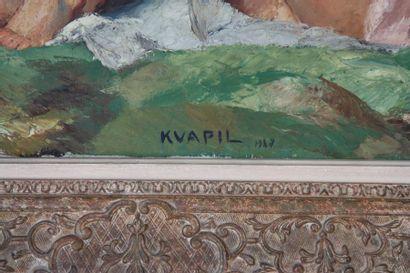 """TABLEAU """" 3 NUS FEMININS AU SOUS BOIS"""" DE CHARLES KVAPIL (1884-1957)  Huile sur..."""
