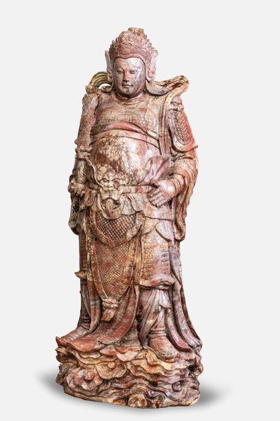 Paire de gardiens de temple Lokapalas vêtus...