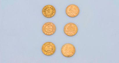 Lot de 6 pièces de 20 francs or, Napoléon...