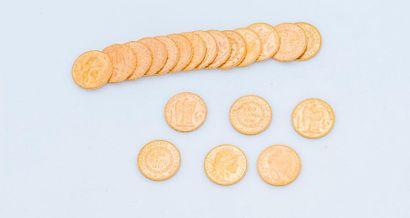 Lot de 20 pièces de 20 francs or comprenant...