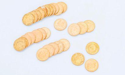 Lot de 31 pièces de 20 francs or comprenant...