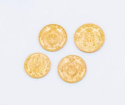Lot de quatre pièces or : 2 pièces de 20...