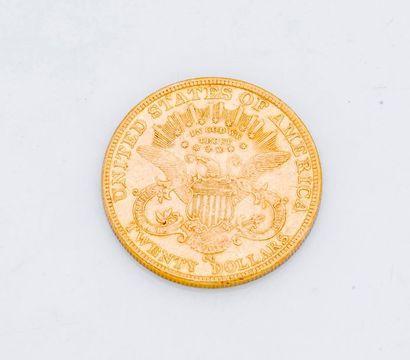 1 Pièce de 20 dollars or Liberty head 1892  Poids : 33,4 g