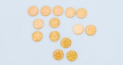 Lot de 14 pièces de 20 francs or ; Napoléon...