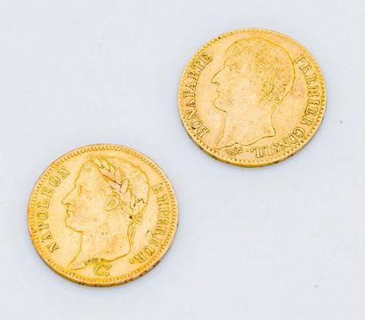 Lot de 2 pièces de 40 francs or comprenant...