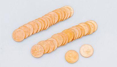 Lot de 36 pièces de 20 francs or Suisses...