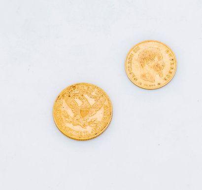 Une pièce 5 dollars or 1899  Poids : 8,3 g  Il est joint une pièce de 10 francs...