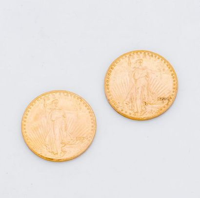 2 pièces 20 dollars or 1924  Poids : 66,8...