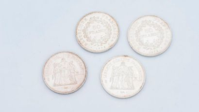 Lot de 4 pièces de 50 francs argent comprenant...