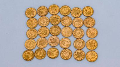Lot de 30 pièces de 20 francs or : comprenant...