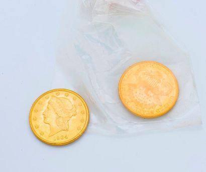 Lot de deux pièces de 20 dollars or Liberty...