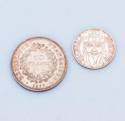 Lot comprenant une pièce de 50 Francs argent...