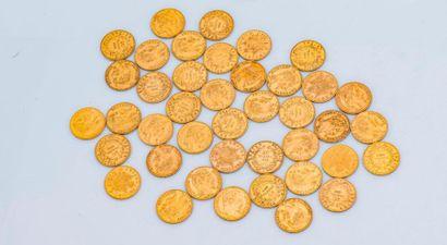 Lot de 41 pièces de 20 Francs or comprenant...