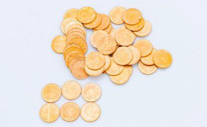 Lot de 54 pièces de 20 francs or Suisses...