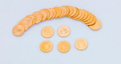 Lot de 30 pièces 20 francs or Suisses comprenant...