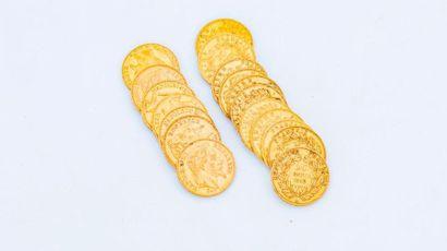 Lot de 18 pièces de 20 Francs or comprenant...