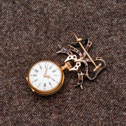 Montre de col en or rose 18 carats (750 millièmes),...