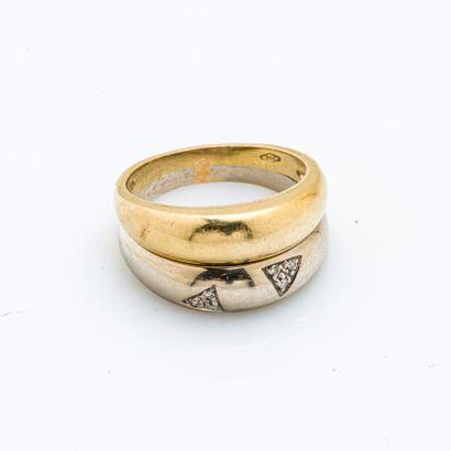 Bague double jonc, le premier en or jaune 18 carats (750 millièmes), le second en...