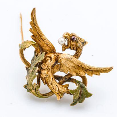 Broche en or jaune 18 carats (750 millièmes)...