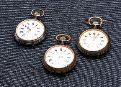 Lot de trois montres de poche Régulateur...