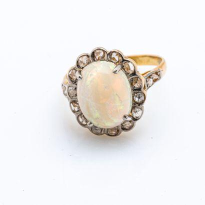 Bague pompadour en or jaune 18 carats (750...
