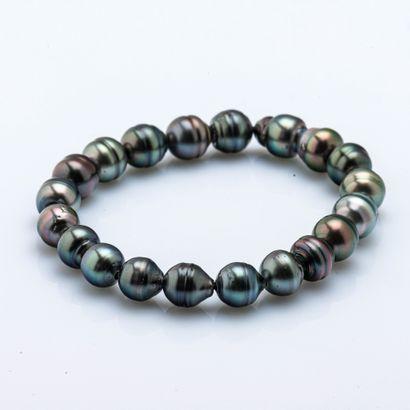 Bracelet rang de perles de Tahiti de forme...