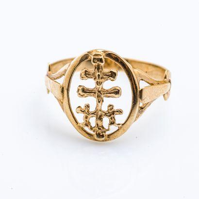 Bague religieuse en or jaune 18 carats (750...