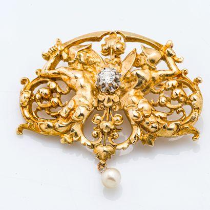 Broche-pendentif en or jaune 18 carats (750...