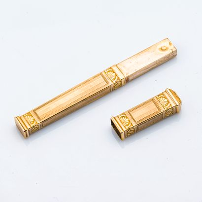 Etui à cire en or jaune 18 carats (750 millièmes)...