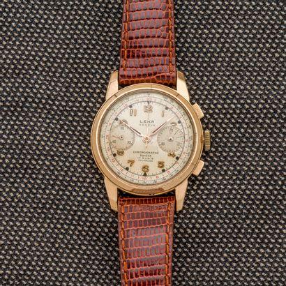 LEKA, vers 1940  Montre bracelet chronographe...